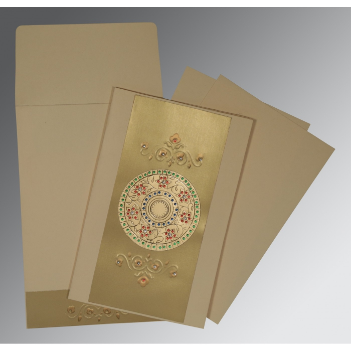 BEIGE GOLD MATTE FOIL STAMPED WEDDING CARD : D-1407 - 123WeddingCards