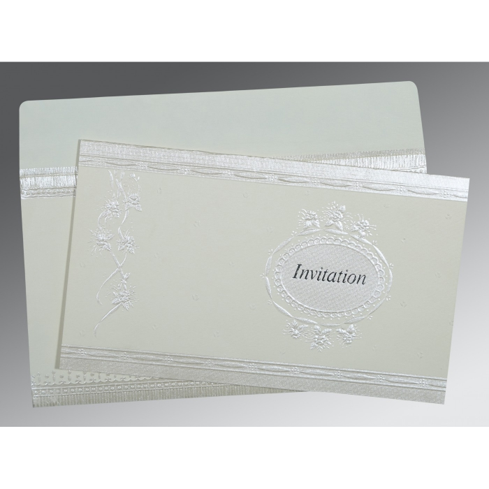 Ivory Matte Foil Stamped Wedding Card : RU-1328 - 123WeddingCards