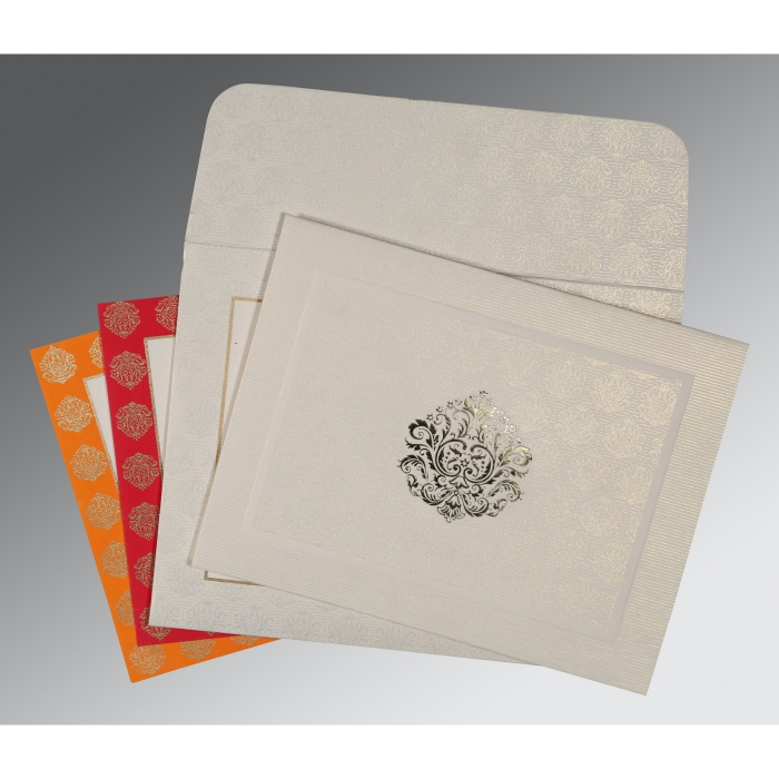 Ivory Matte Foil Stamped Wedding Card : RU-1502 - 123WeddingCards