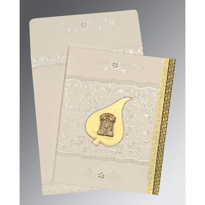 Ivory Matte Foil Stamped Wedding Invitation : SO-1195 - 123WeddingCards
