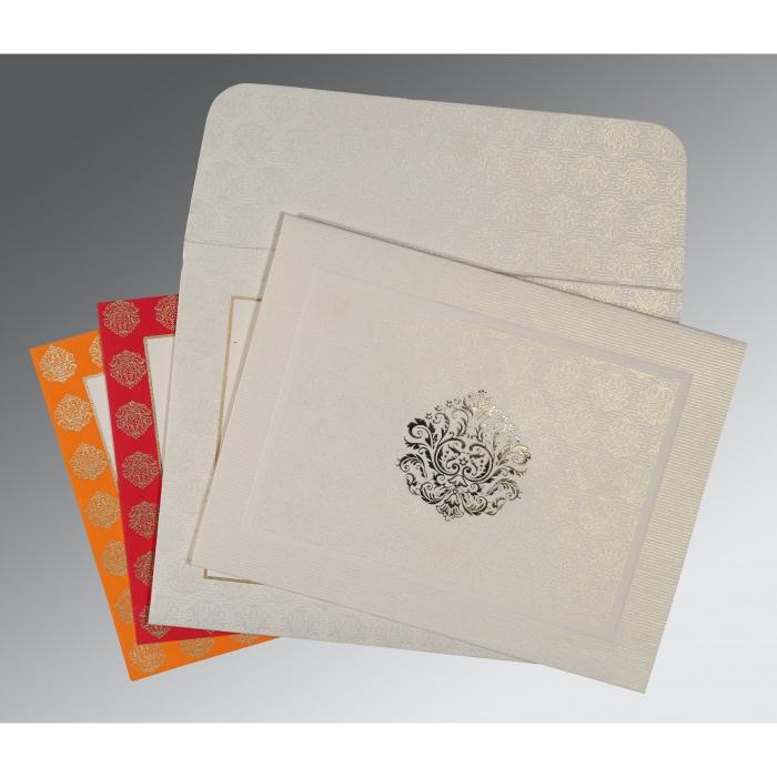WHITE MATTE FOIL STAMPED WEDDING CARD : W-1502 - 123WeddingCards