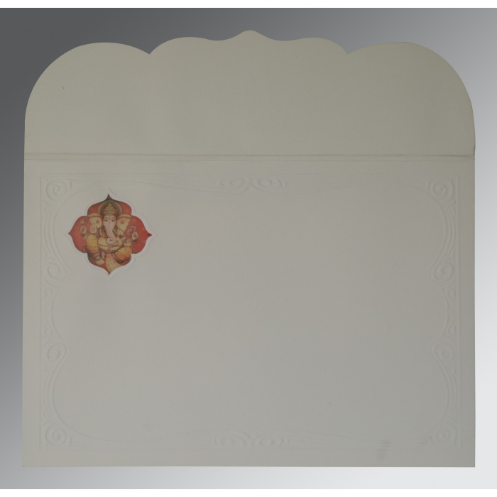 OFF-WHITE MATTE FOIL STAMPED WEDDING CARD : W-2207 - 123WeddingCards