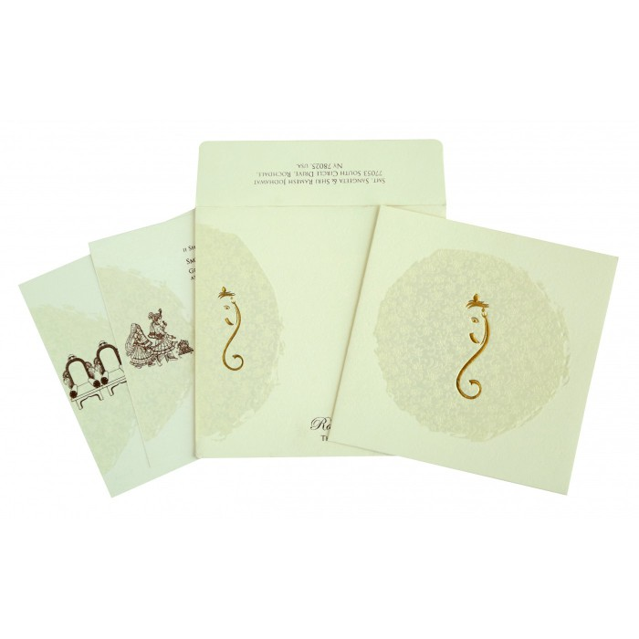 CREAM MATTE FOIL STAMPED WEDDING INVITATION : W-2297 - 123WeddingCards