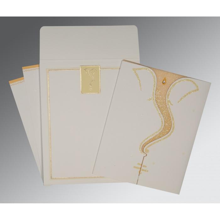 OFF-WHITE MATTE GLITTER WEDDING CARD : W-2103 - 123WeddingCards