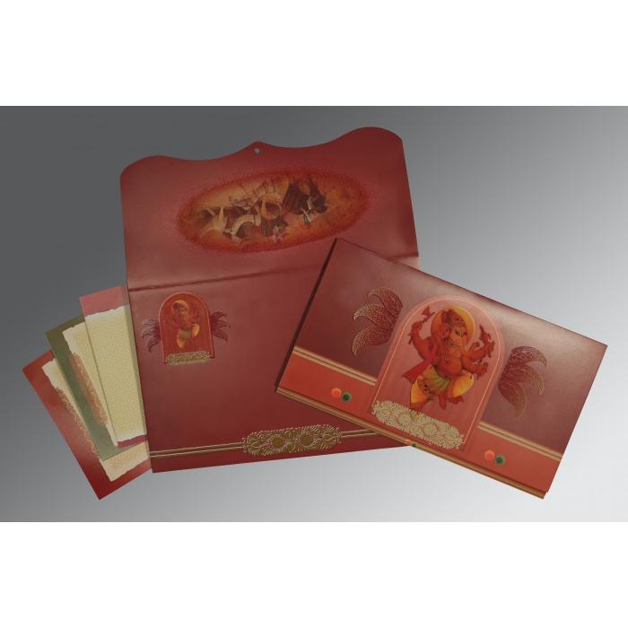 DARK RED MATTE OFFSET PRINTED WEDDING CARD : W-2215 - 123WeddingCards