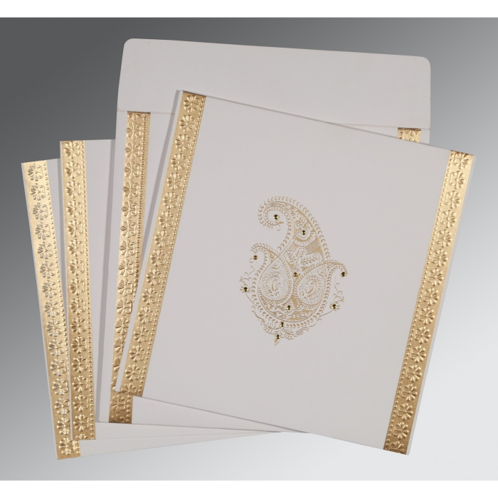 Ivory Matte Paisley Themed - Embossed Wedding Invitations : IN-8231J - 123WeddingCards