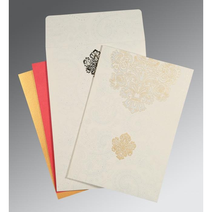 Ivory Matte Paisley Themed - Screen Printed Wedding Invitation : SO-1508 - 123WeddingCards