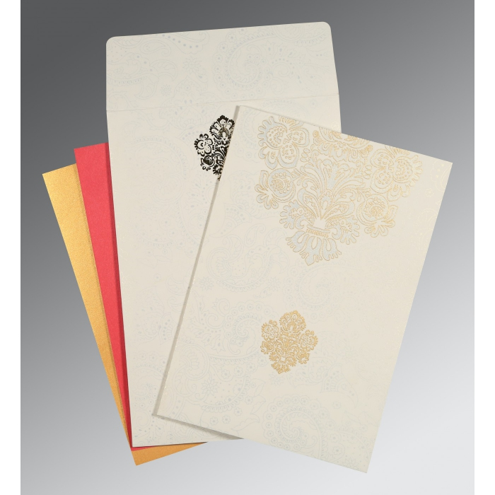 Ivory Matte Paisley Themed - Screen Printed Wedding Invitation : W-1508 - 123WeddingCards