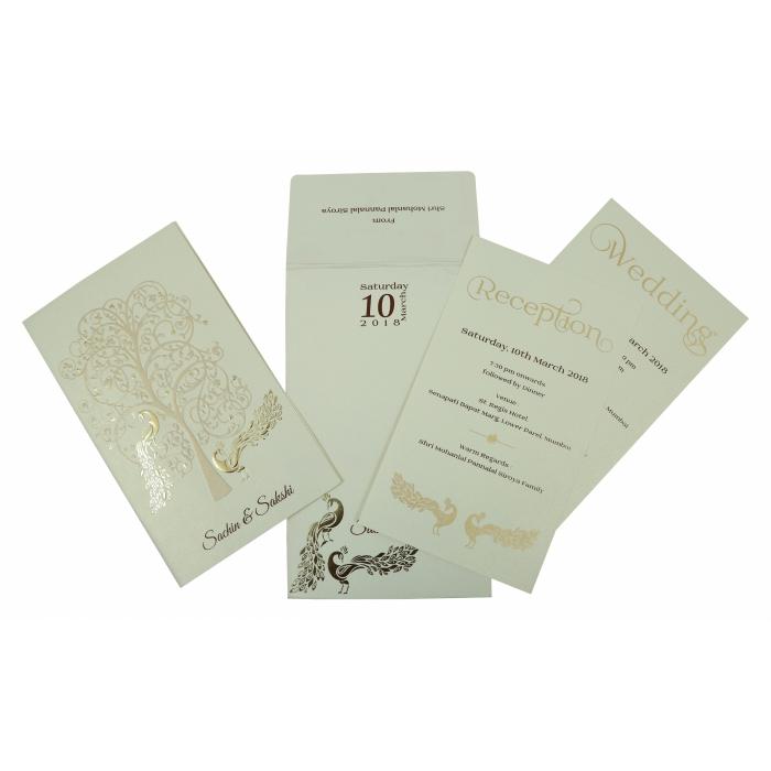 BEIGE MATTE PEACOCK THEMED - EMBOSSED WEDDING INVITATION : C-1807 - 123WeddingCards