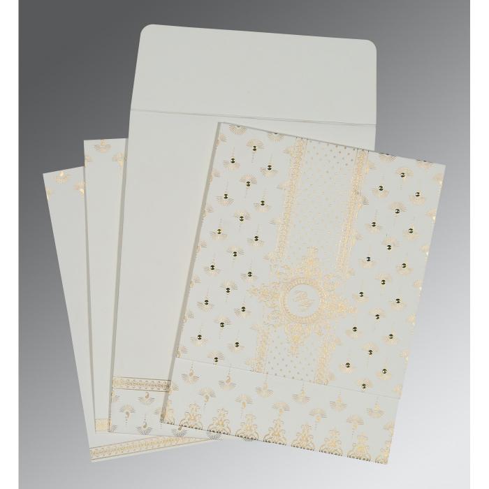 OFF-WHITE MATTE SCREEN PRINTED WEDDING INVITATION : C-8247M - 123WeddingCards