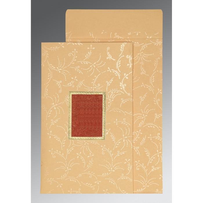 BEIGE MATTE SCREEN PRINTED WEDDING CARD : D-1303 - 123WeddingCards