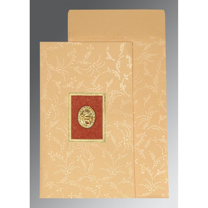 Ivory Matte Screen Printed Wedding Card : S-1303 - 123WeddingCards