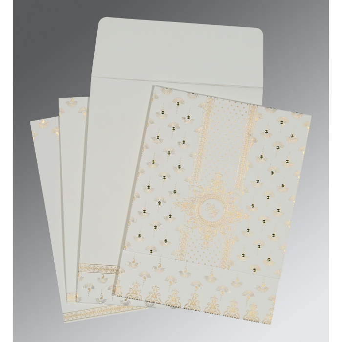Ivory Matte Screen Printed Wedding Invitation : W-8247M - 123WeddingCards