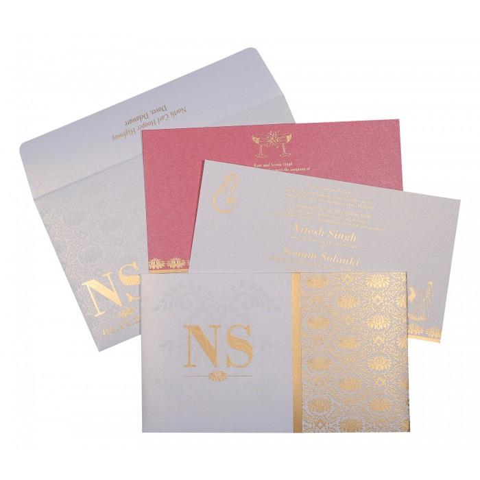 Ivory Shimmery Damask Themed - Screen Printed Wedding Invitation : G-8261F - 123WeddingCards