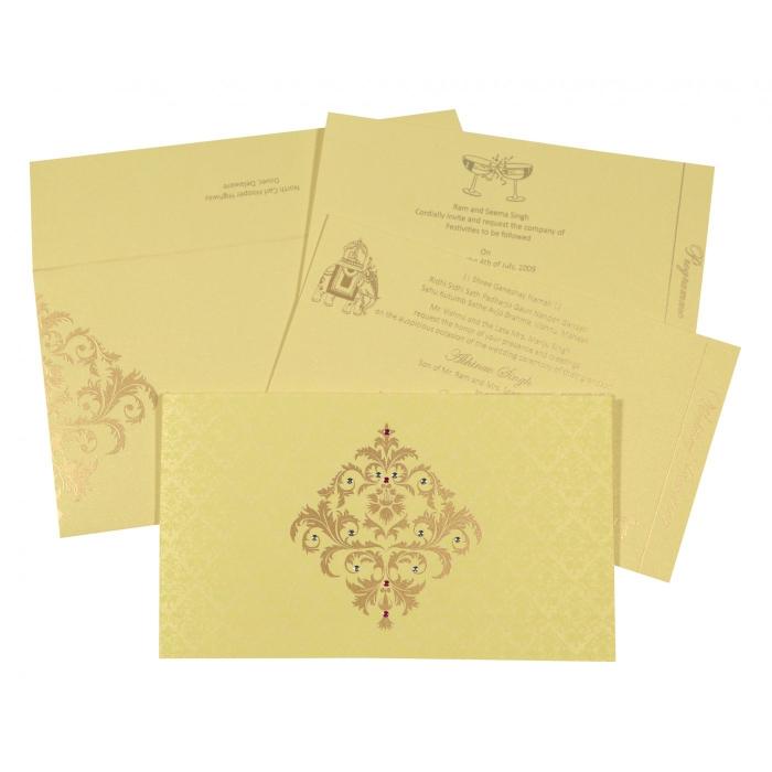 Ivory Shimmery Damask Themed - Screen Printed Wedding Card : RU-8257B - 123WeddingCards