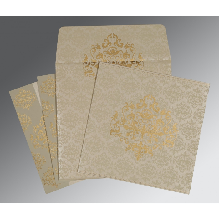 Ivory Shimmery Damask Themed - Screen Printed Wedding Invitations : W-8254A - 123WeddingCards
