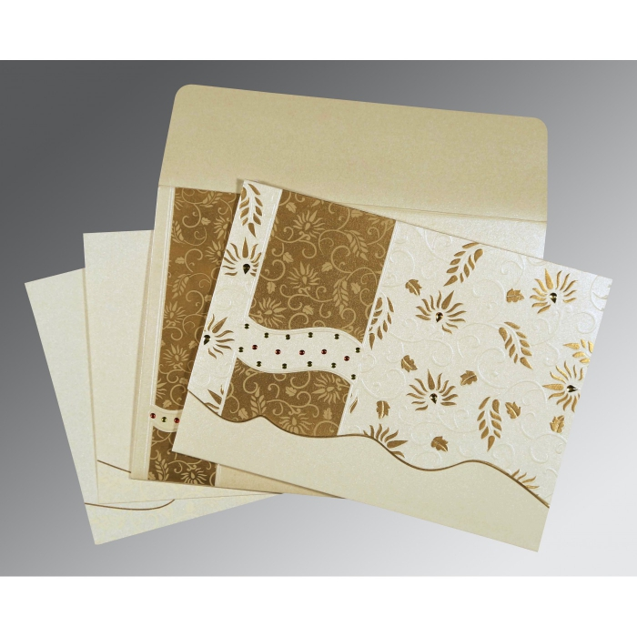 Ivory Shimmery Floral Themed - Embossed Wedding Invitation : D-8236B - 123WeddingCards
