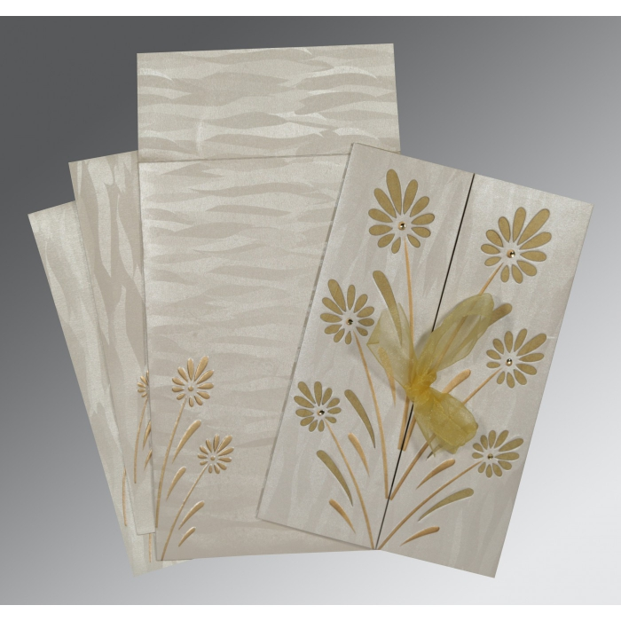 Ivory Shimmery Floral Themed - Embossed Wedding Invitations : RU-1372 - 123WeddingCards