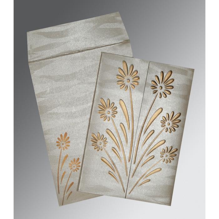 Ivory Shimmery Floral Themed - Embossed Wedding Card : RU-1378 - 123WeddingCards