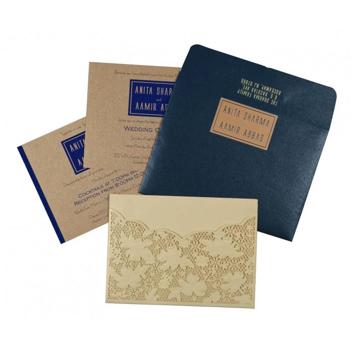 CREAM SHIMMERY FLORAL THEMED - LASER CUT WEDDING CARD : W-1586 - 123WeddingCards