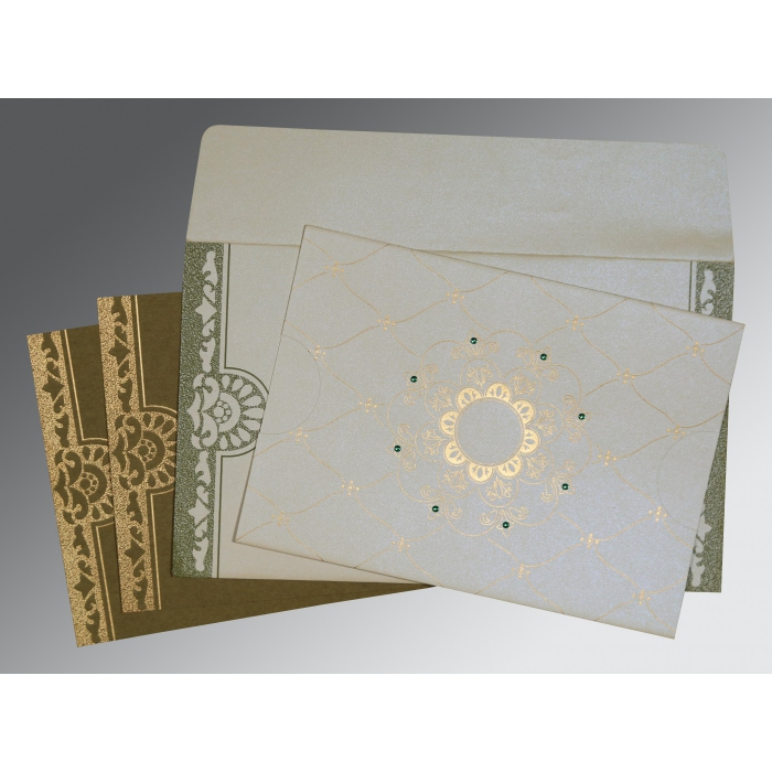 OFF-WHITE SHIMMERY FLORAL THEMED - SCREEN PRINTED WEDDING CARD : C-8227F - 123WeddingCards