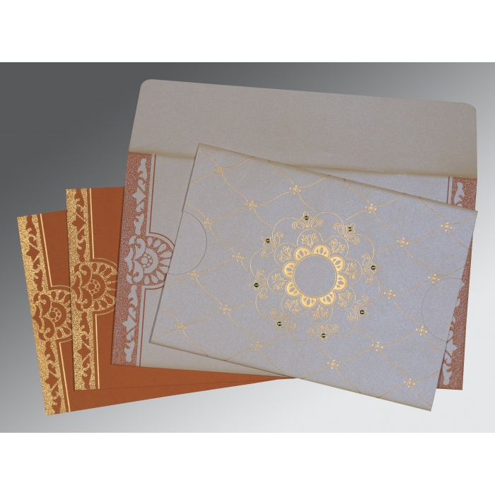 OFF-WHITE SHIMMERY FLORAL THEMED - SCREEN PRINTED WEDDING CARD : C-8227L - 123WeddingCards