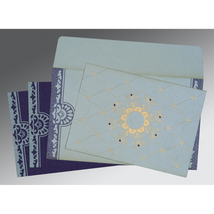 OFF-WHITE SHIMMERY FLORAL THEMED - SCREEN PRINTED WEDDING CARD : D-8227E - 123WeddingCards