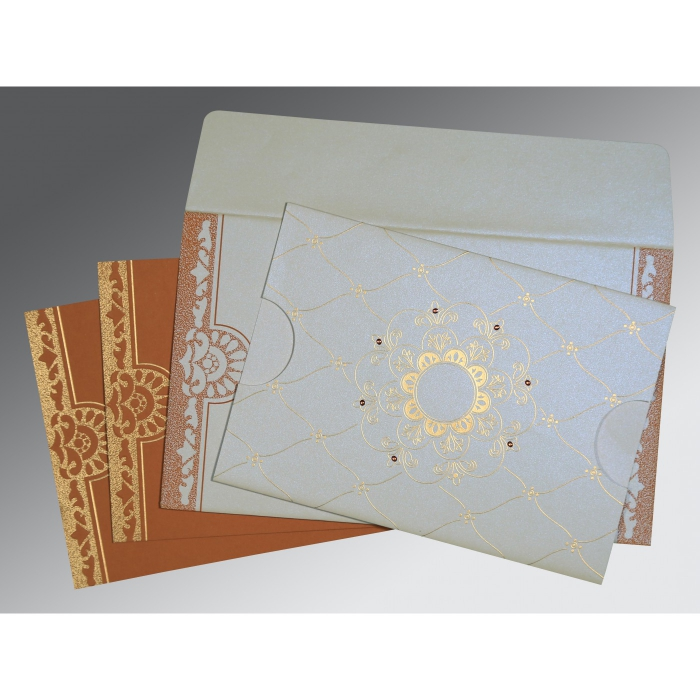 Ivory Shimmery Floral Themed - Screen Printed Wedding Card : D-8227H - 123WeddingCards
