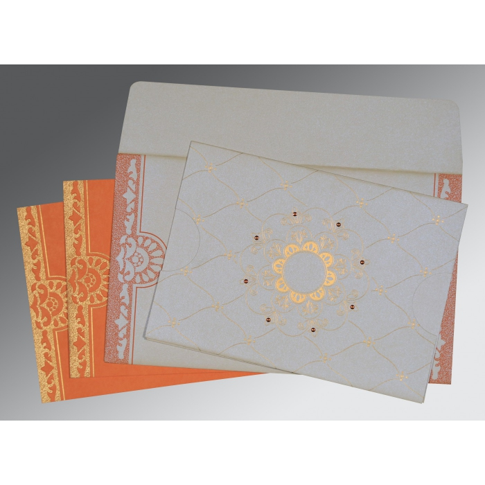 OFF-WHITE BLUE SHIMMERY FLORAL THEMED - SCREEN PRINTED WEDDING CARD : D-8227N - 123WeddingCards
