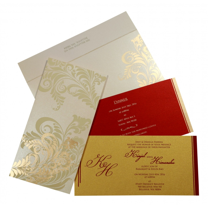 Ivory Shimmery Floral Themed - Screen Printed Wedding Card : I-8259A - 123WeddingCards