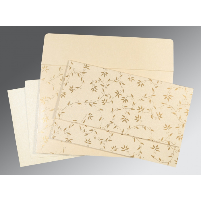 CREAM SHIMMERY FLORAL THEMED - SCREEN PRINTED WEDDING INVITATION : IN-8226L - 123WeddingCards