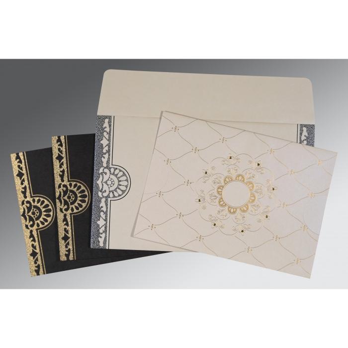 Ivory Shimmery Floral Themed - Screen Printed Wedding Card : RU-8227A - 123WeddingCards