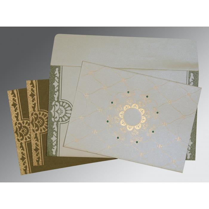 Ivory Shimmery Floral Themed - Screen Printed Wedding Card : RU-8227F - 123WeddingCards