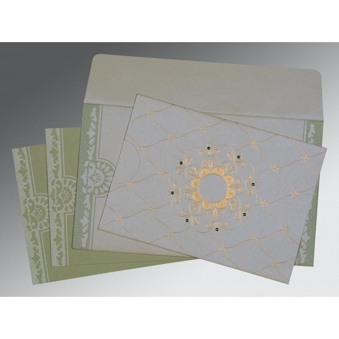 Ivory Shimmery Floral Themed - Screen Printed Wedding Card : RU-8227J - 123WeddingCards