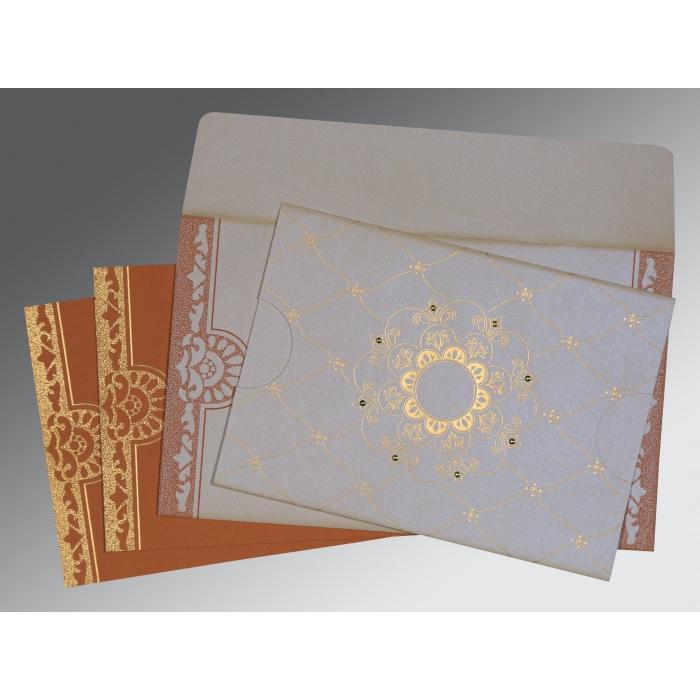Ivory Shimmery Floral Themed - Screen Printed Wedding Card : RU-8227L - 123WeddingCards