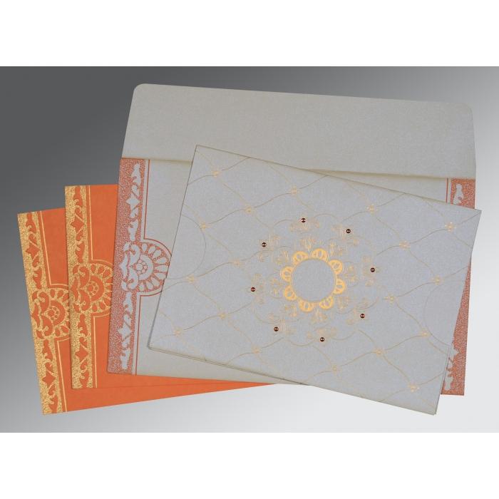 Ivory Shimmery Floral Themed - Screen Printed Wedding Card : RU-8227N - 123WeddingCards