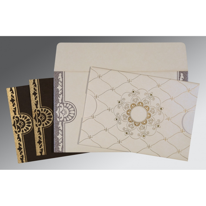 Ivory Shimmery Floral Themed - Screen Printed Wedding Card : CRU-8227P - 123WeddingCards