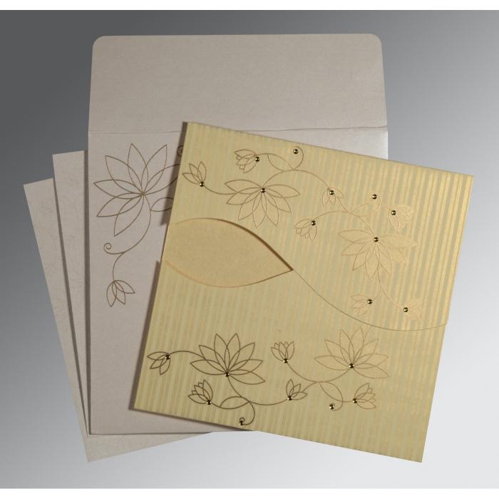 Ivory Shimmery Floral Themed - Screen Printed Wedding Invitation : RU-8251H - 123WeddingCards