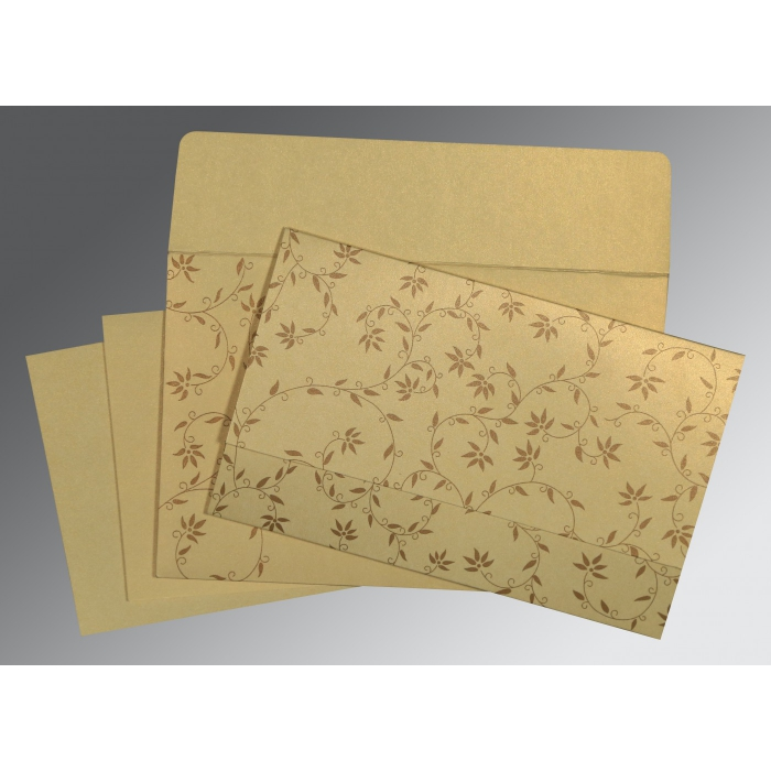 Ivory Shimmery Floral Themed - Screen Printed Wedding Invitation : SO-8226S - 123WeddingCards