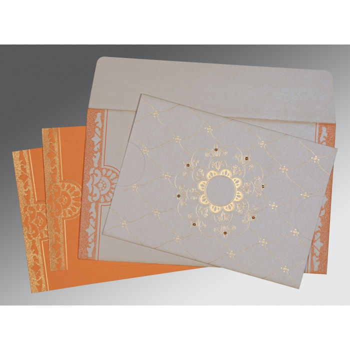 OFF-WHITE SHIMMERY FLORAL THEMED - SCREEN PRINTED WEDDING CARD : W-8227D - 123WeddingCards