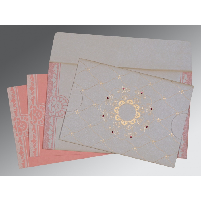 OFF-WHITE PINK SHIMMERY FLORAL THEMED - SCREEN PRINTED WEDDING CARD : W-8227M - 123WeddingCards