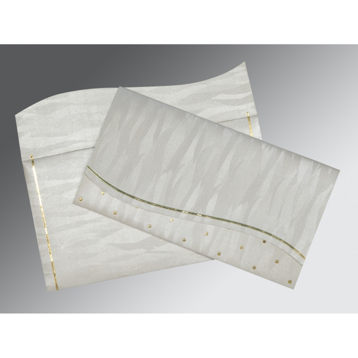 Ivory Shimmery Foil Stamped Wedding Card : D-1435 - 123WeddingCards
