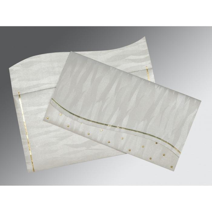 Ivory Shimmery Foil Stamped Wedding Card : RU-1435 - 123WeddingCards