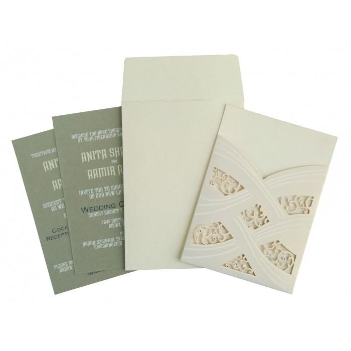 Ivory Shimmery Laser Cut Wedding Card : C-1590 - 123WeddingCards