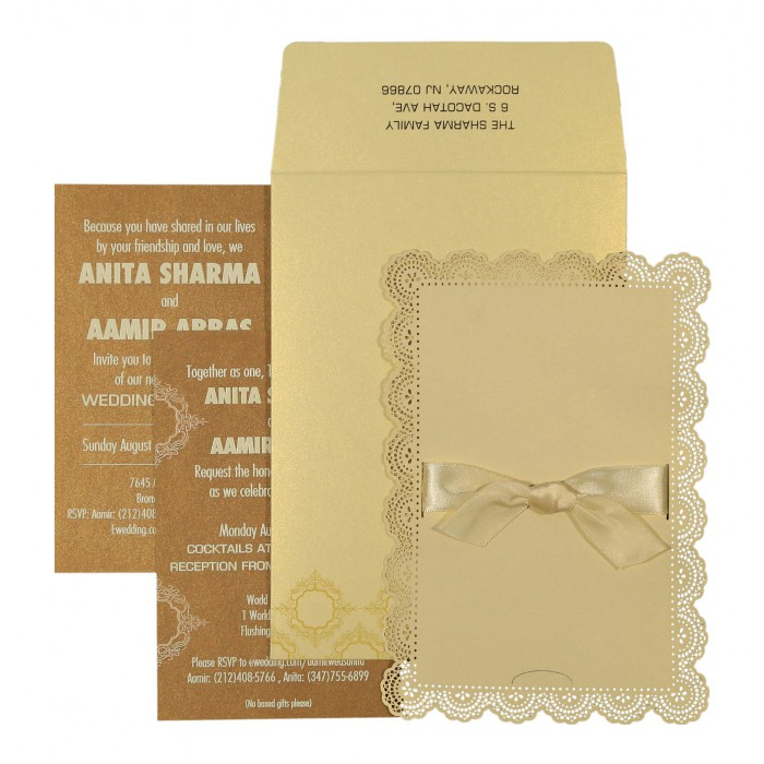 Ivory Shimmery Laser Cut Wedding Invitation : D-1588 - 123WeddingCards