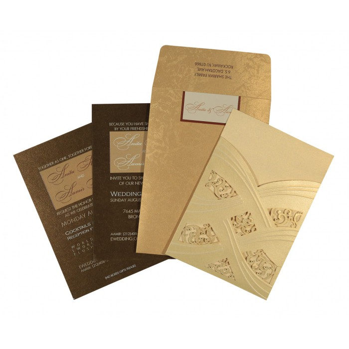 Ivory Shimmery Laser Cut Wedding Invitations : D-1591 - 123WeddingCards