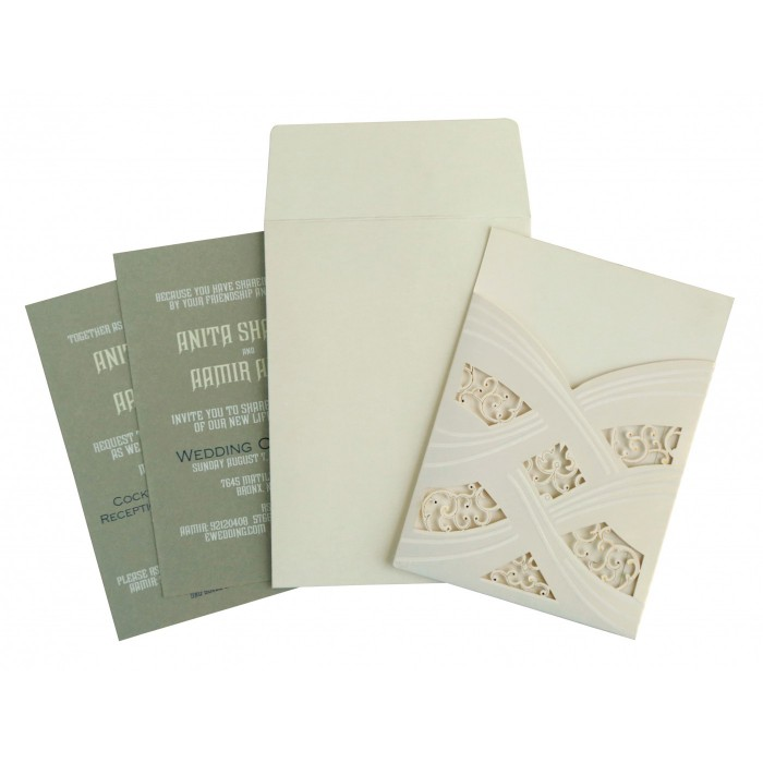 IVORY SHIMMERY LASER CUT WEDDING CARD : W-1590 - 123WeddingCards