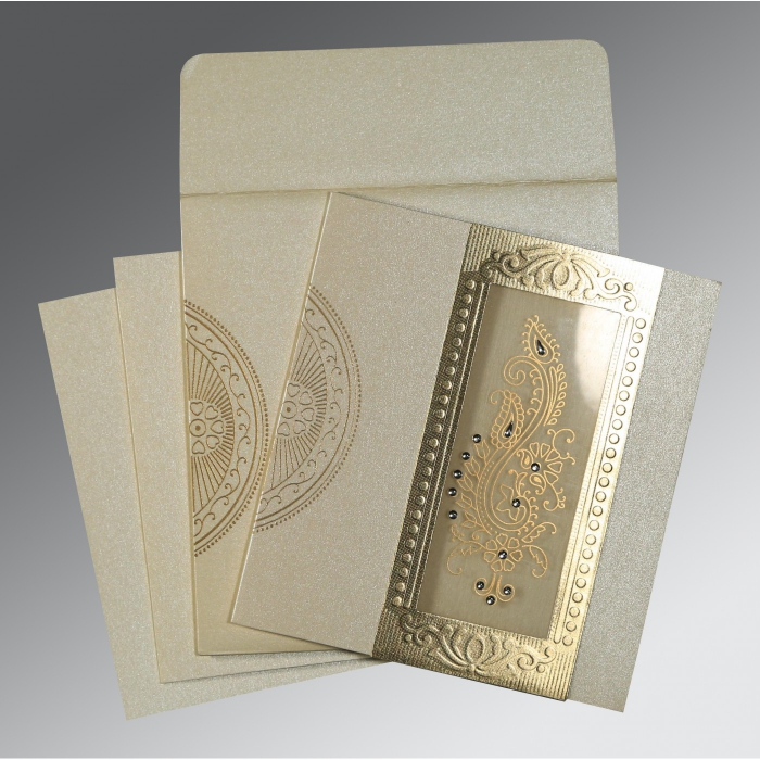IVORY SHIMMERY PAISLEY THEMED - FOIL STAMPED WEDDING INVITATION : C-8230O - 123WeddingCards