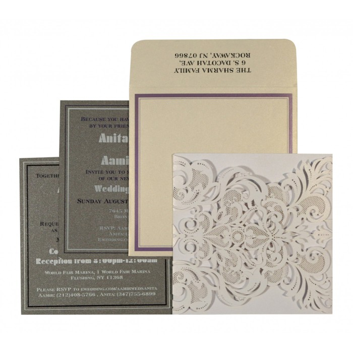WHITE SHIMMERY PAISLEY THEMED - LASER CUT WEDDING INVITATION : D-1592 - 123WeddingCards
