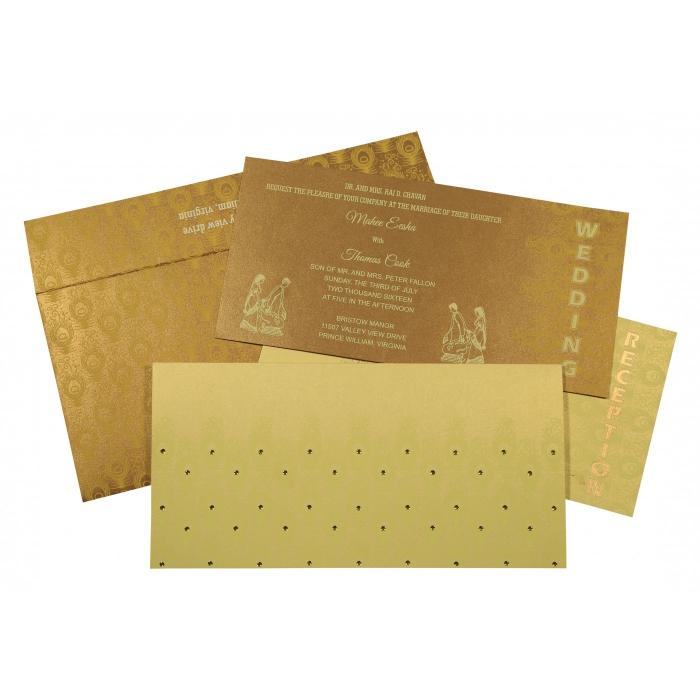 CREAM GOLD SHIMMERY PEACOCK THEMED - SCREEN PRINTED WEDDING INVITATION : C-8256A - 123WeddingCards